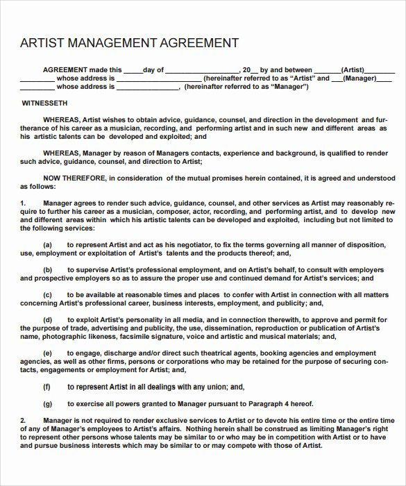 Artist Management Contract Template Luxury 12 Sample Artist Contract Templates to Download for Free