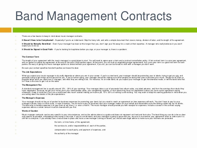 Artist Management Contract Template Luxury Artist Management Contract