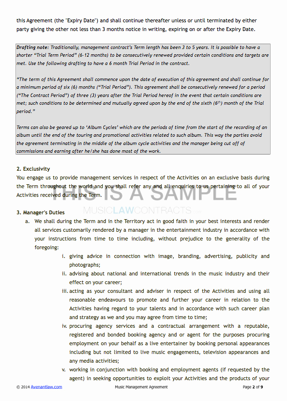 Artist Management Contract Template Luxury Artist Management Contract Template