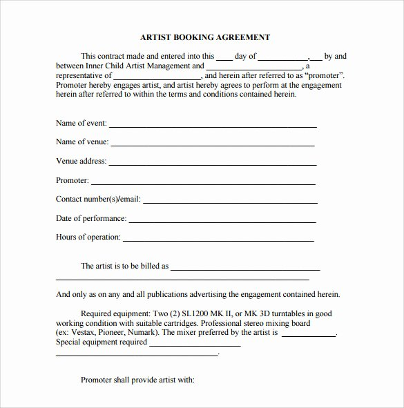 Artist Management Contract Template New 10 Booking Agent Contract Templates to Download