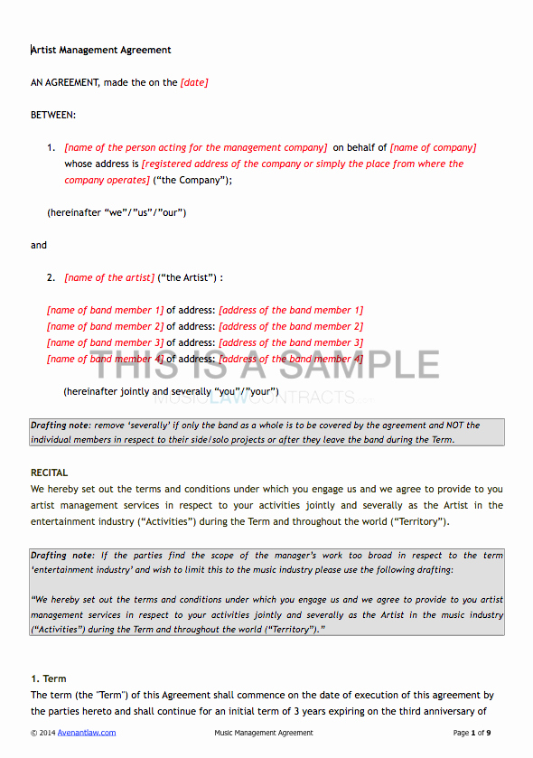 Artist Management Contract Template New Artist Management Contract Template