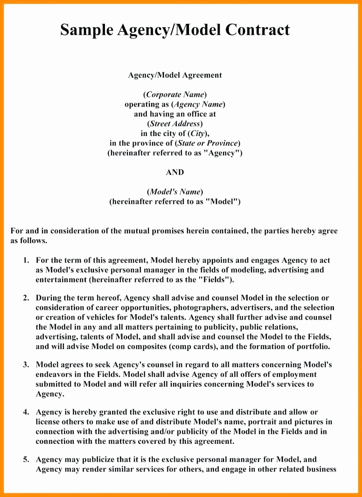 Artist Management Contract Template New Template Artist Management Agreement Template