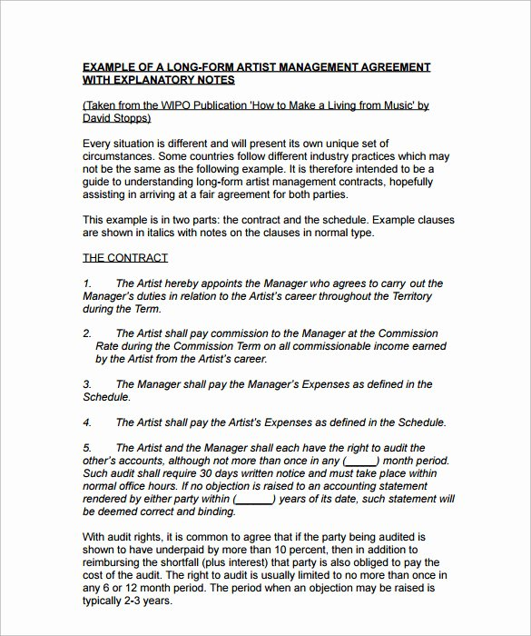 Artist Management Contract Template Unique 10 Artist Management Contract Templates to Download for