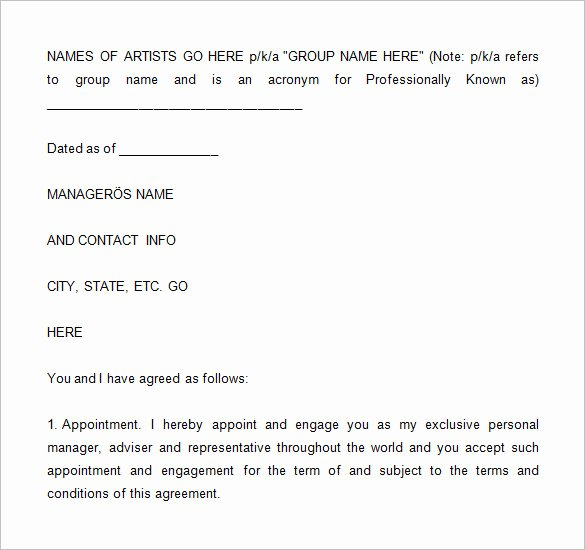 Artist Management Contract Template Unique 5 Artist Management Contract Templates Word Docs Pdf