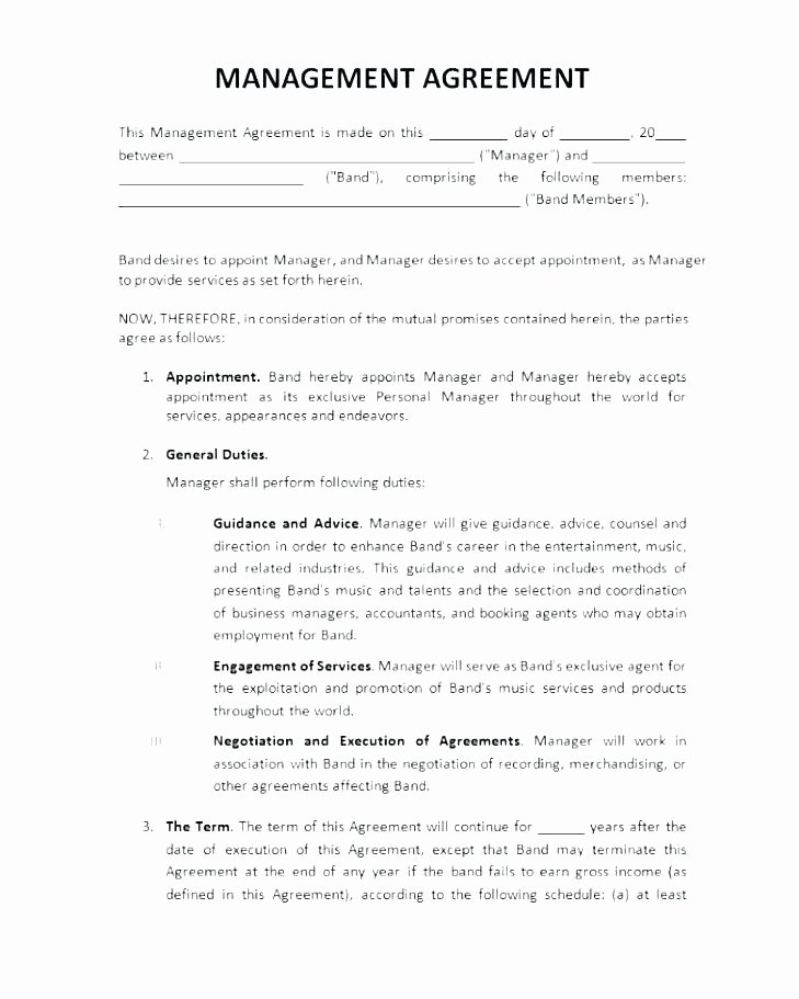 Artist Management Contract Template Unique Music Manager Contract Template – Arabnormafo