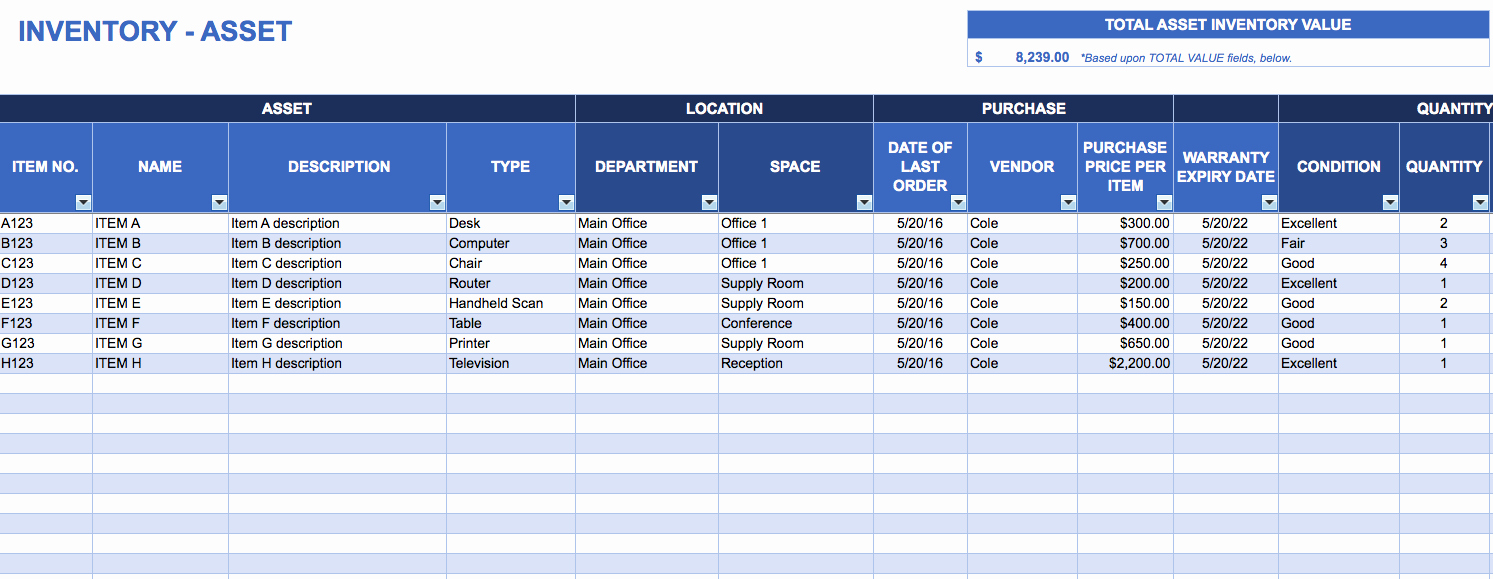 Asset Management Template Excel Inspirational Free Excel Inventory Templates