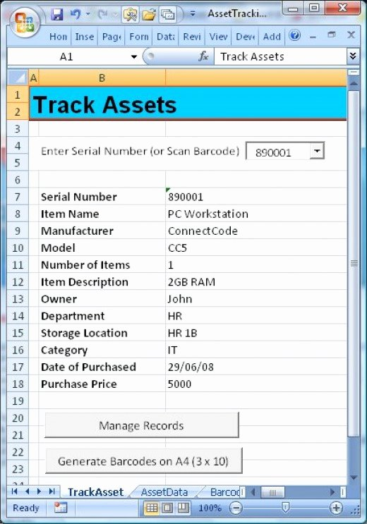 Asset Management Template Excel Luxury Barcode assets Tracking – Track assets for Home Inventory