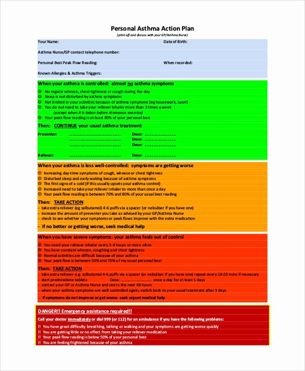 Asthma Action Plan Template Awesome 46 Sample Action Plans