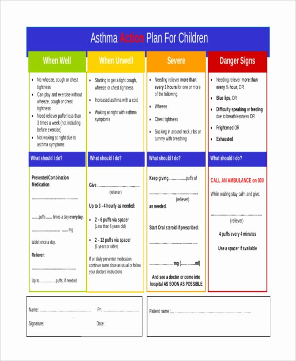 Asthma Action Plan Template Elegant 31 Action Plan Free Word Pdf Documents Download