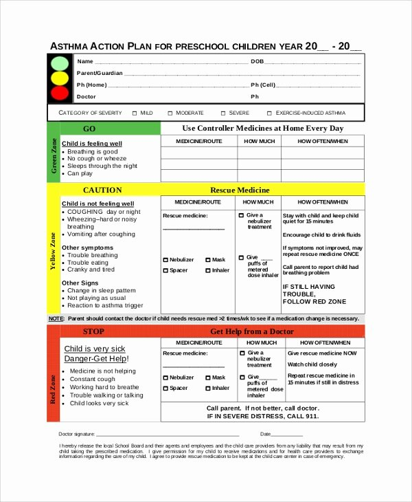 Asthma Action Plan Template Elegant 46 Sample Action Plans