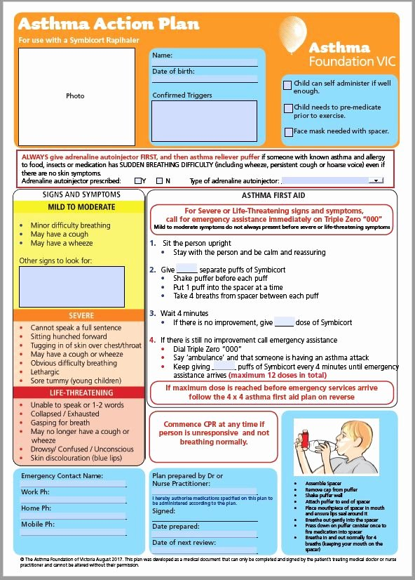 Asthma Action Plan Template Elegant Victorian asthma Action Plans An asthma Australia Site