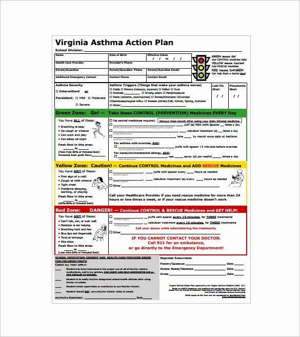 Asthma Action Plan Template Inspirational asthma Action Plan Template – 13 Free Sample Example