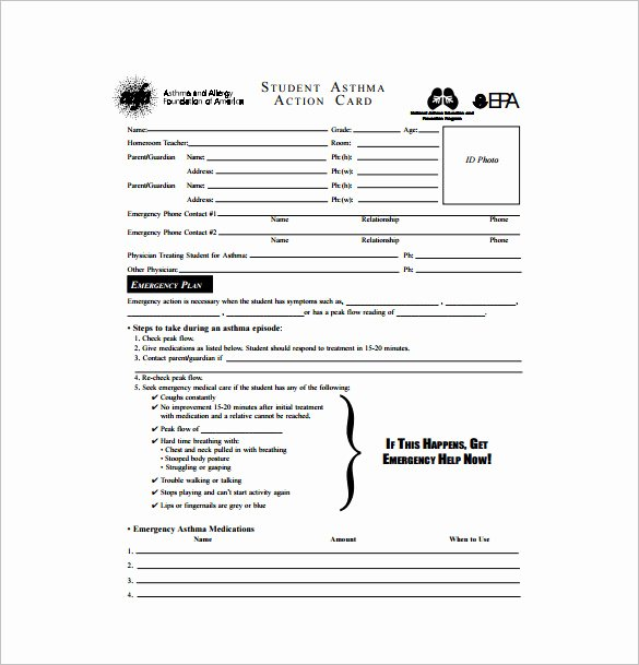 Asthma Action Plan Template Lovely 10 Allergy Action Plan Templates Doc Pdf