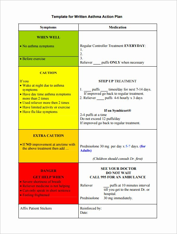 Asthma Action Plan Template Lovely asthma Action Plan Template – 13 Free Sample Example
