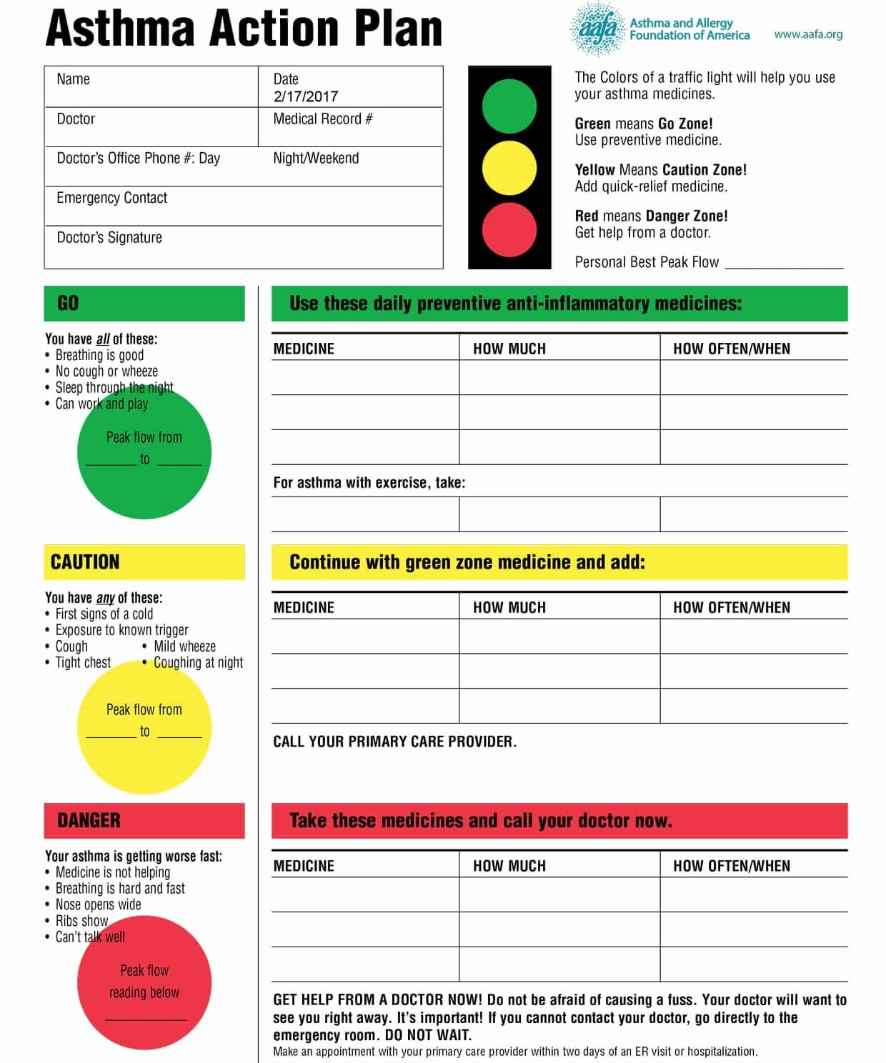 Asthma Action Plan Template Luxury asthma Action Plan