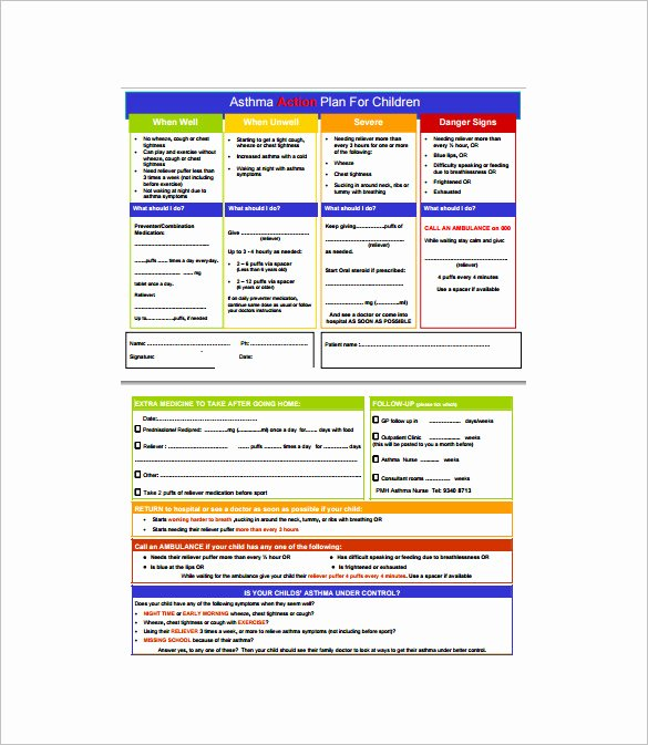 Asthma Action Plan Template Unique 9 asthma Action Plan Template Doc Excel Pdf