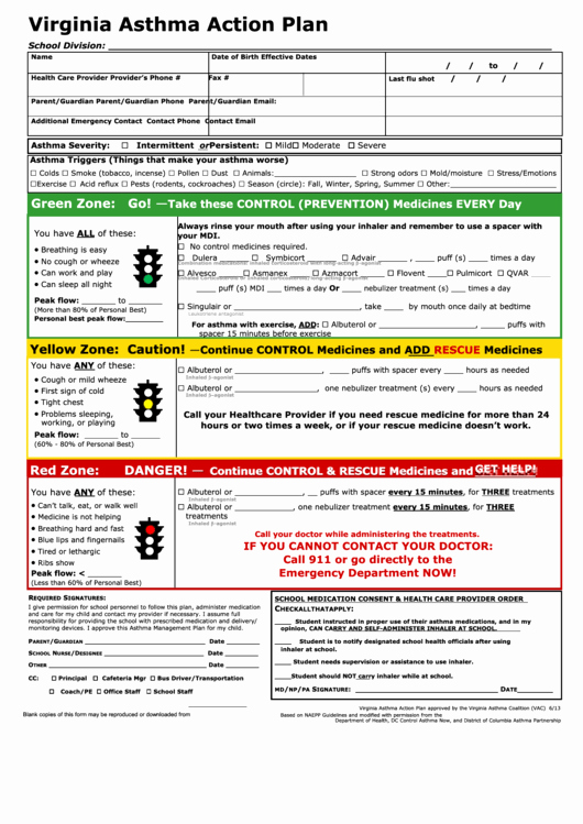 Asthma Action Plan Template Unique top 33 asthma Action Plan form Templates Free to