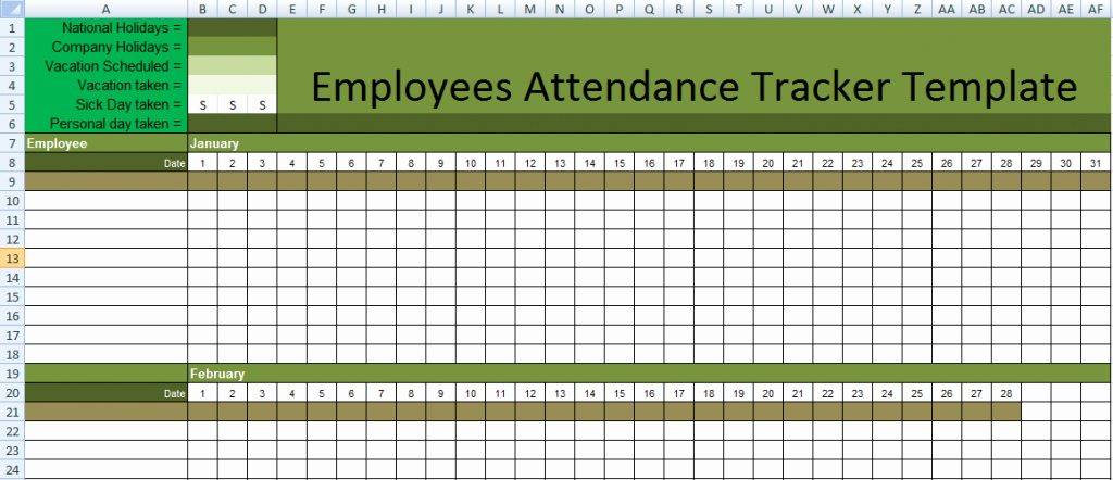 Attendance Sheet Template Excel Awesome Stunning Employee attendance Tracker Sheet Example with