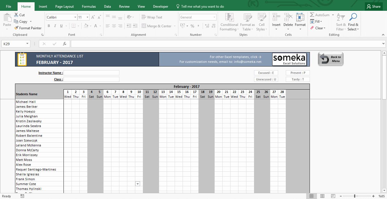 Attendance Sheet Template Excel Best Of attendance Sheet Printable Excel Template
