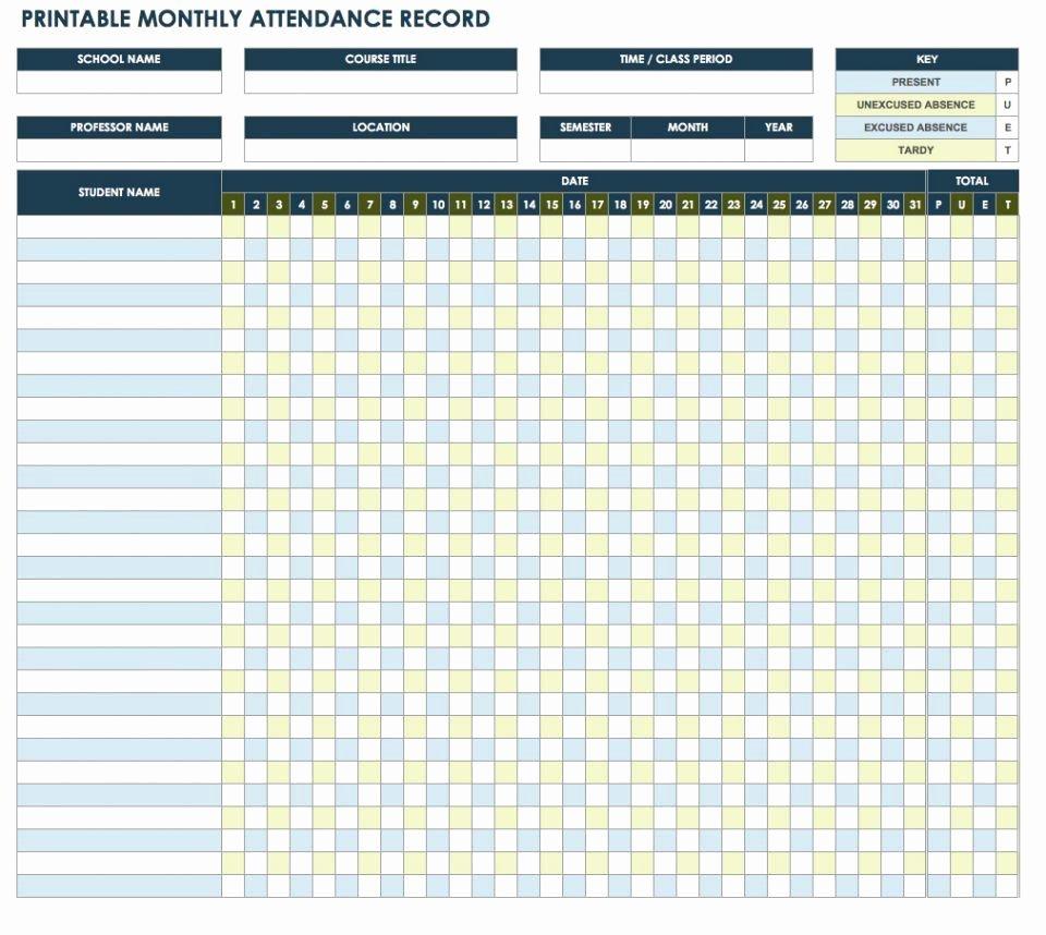 Attendance Sheet Template Excel Inspirational 25 Printable attendance Sheet Templates [excel Word