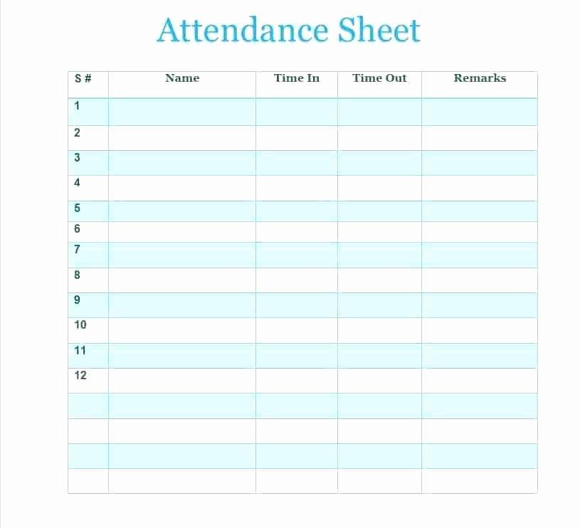 Attendance Sheet Template Excel Inspirational Blank attendance Sheet Template Sheets Ideal Include
