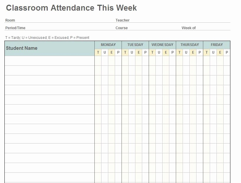 Attendance Sheet Template Excel Inspirational Class attendance Template
