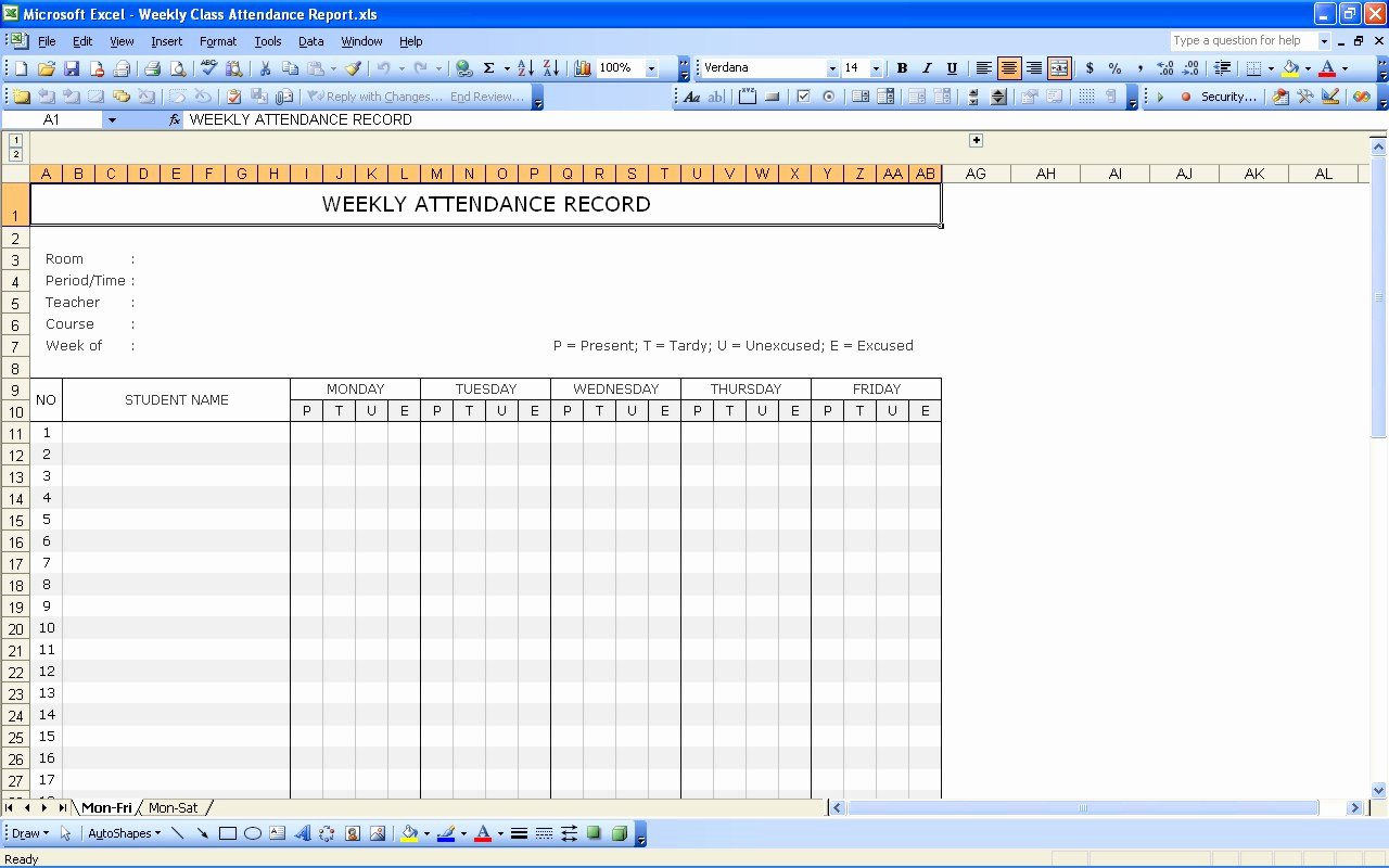Attendance Sheet Template Excel Inspirational Student attendance Record