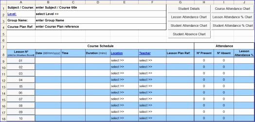 Attendance Sheet Template Excel Lovely Course attendance Excel Template