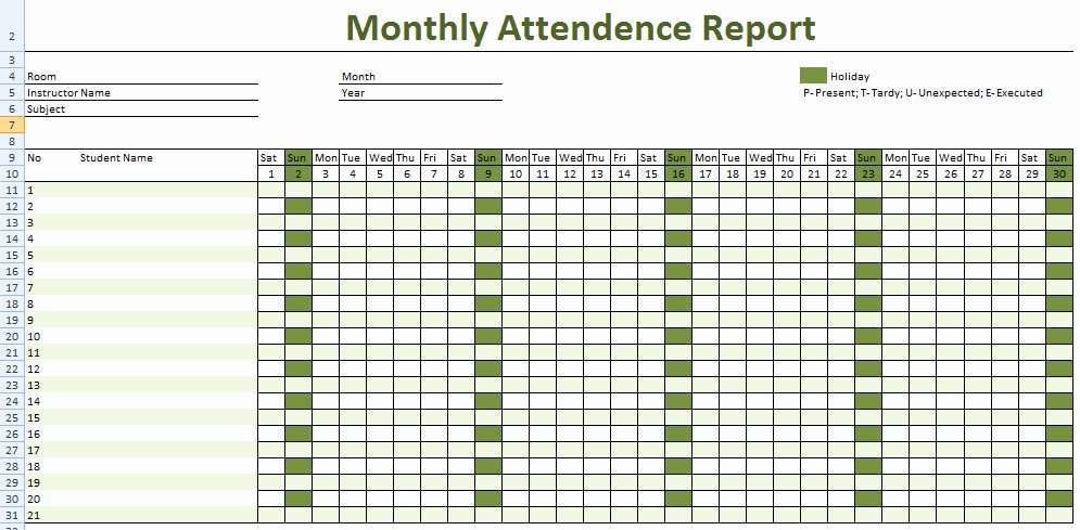 Attendance Sheet Template Excel Unique attendance Sheet for Employees Excel 2016