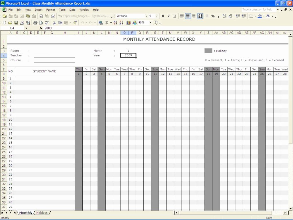 perfect monthly attendance sheet record template in excel with student name and date columns