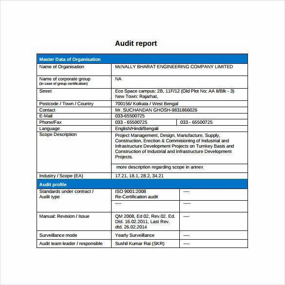 Audit Report Template Excel Inspirational 37 Brilliant Audit Report format Examples Thogati