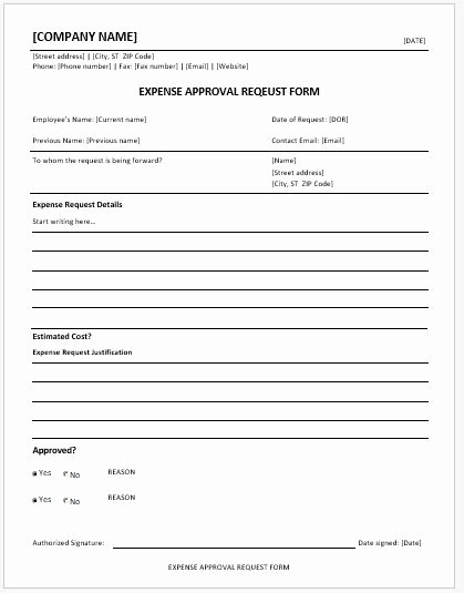 Authorization for Expenditure Template Beautiful Expense Approval Request forms Ms Word