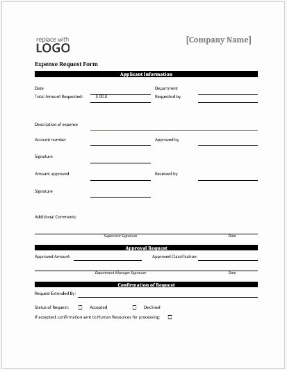 Authorization for Expenditure Template Beautiful Expense Request forms for Ms Word