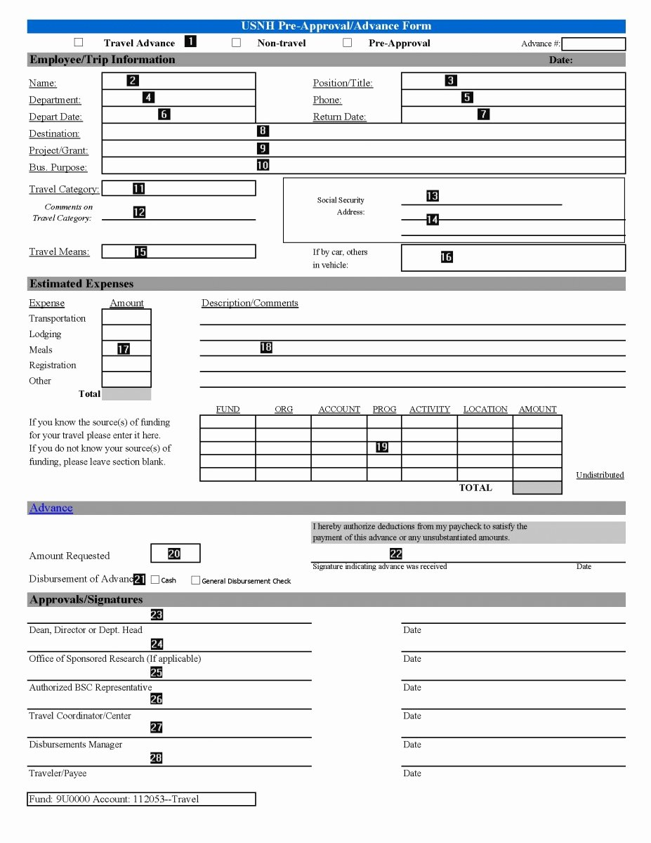 Authorization for Expenditure Template Elegant 07 118 Instructions for Pleting the Travel Pre