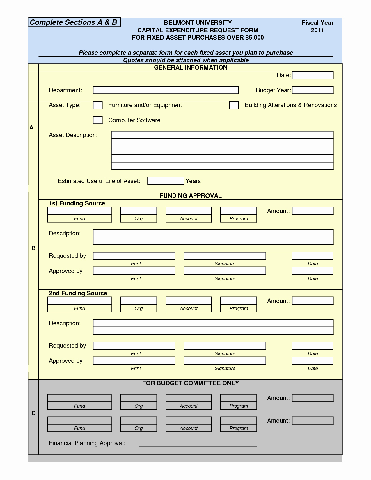 Authorization for Expenditure Template Fresh 7 Best Of Capital asset Transfer form asset