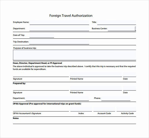 Authorization for Expenditure Template Inspirational 9 Sample Travel Authorization form Examples to Download