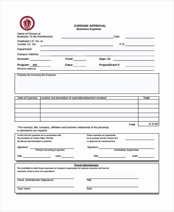 Authorization for Expenditure Template Inspirational Sample Expense Approval forms 10 Free Documents In Word
