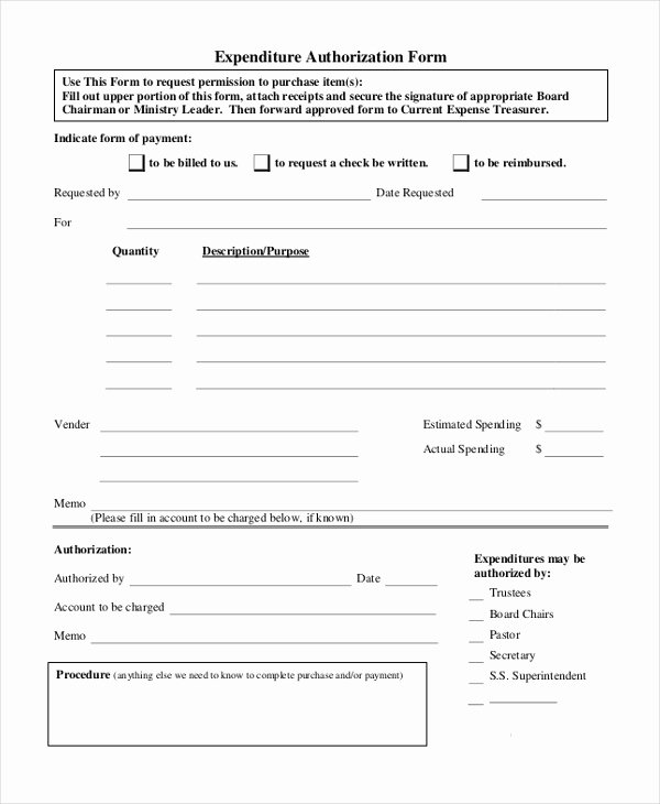 Authorization for Expenditure Template Lovely Sample Authorization forms 16 Free Documents In Word Pdf