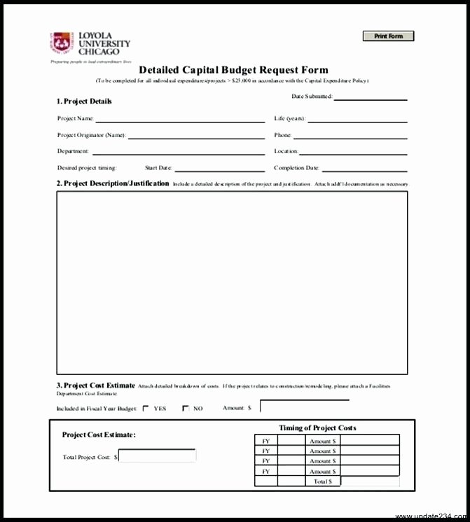 Authorization for Expenditure Template New Capital Expenditure Bud Template Excel Request form