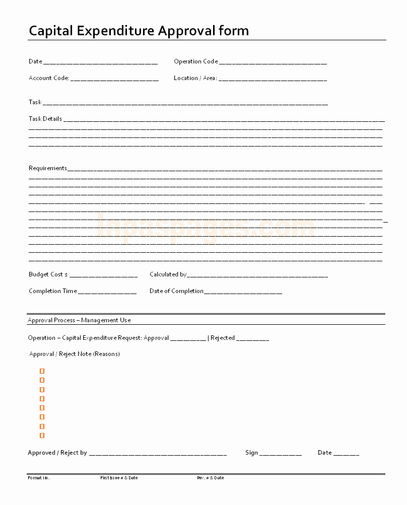 Authorization for Expenditure Template Unique Capital Expenditure Approval form format