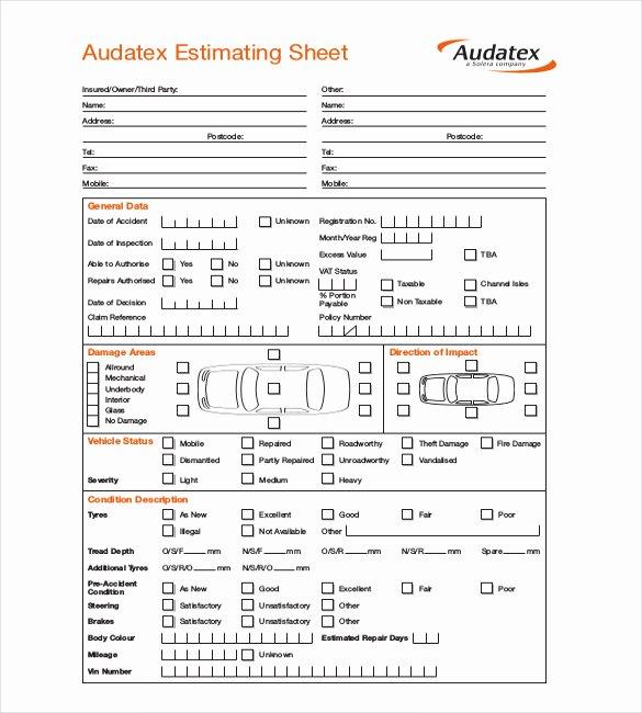 Auto Body Estimate Template New Auto Body Repair Estimate forms Free