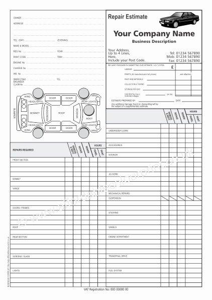 Auto Body Estimate Template New Car Repair Estimate forms
