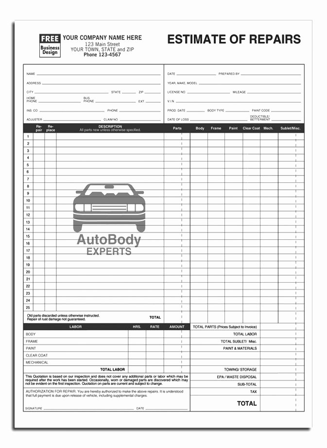Auto Body Repair Estimate Template Luxury Anchorside Carbonless form Templates