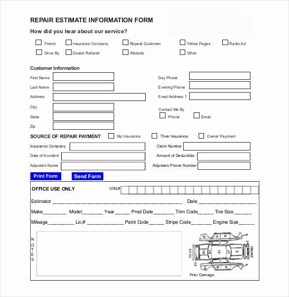 Auto Body Repair Estimate Template Luxury Auto Repair Estimate Template Excel