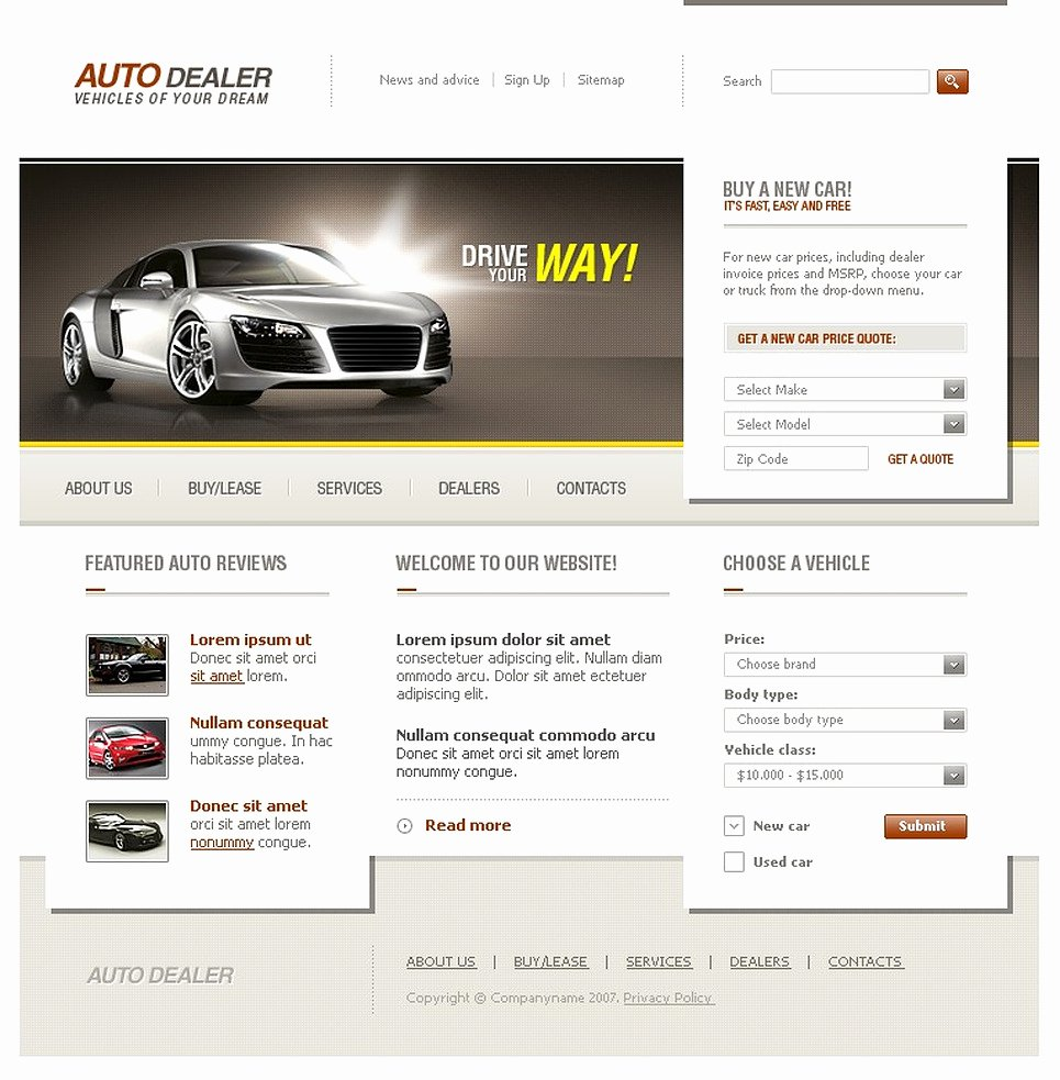 Auto Dealer Website Template Awesome Car Dealer Website Template Web Design Templates