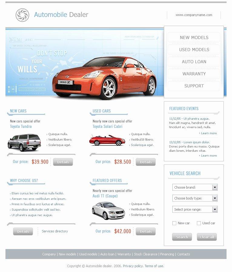 Auto Dealer Website Template Luxury Car Dealer Website Template by Wt Website Templates