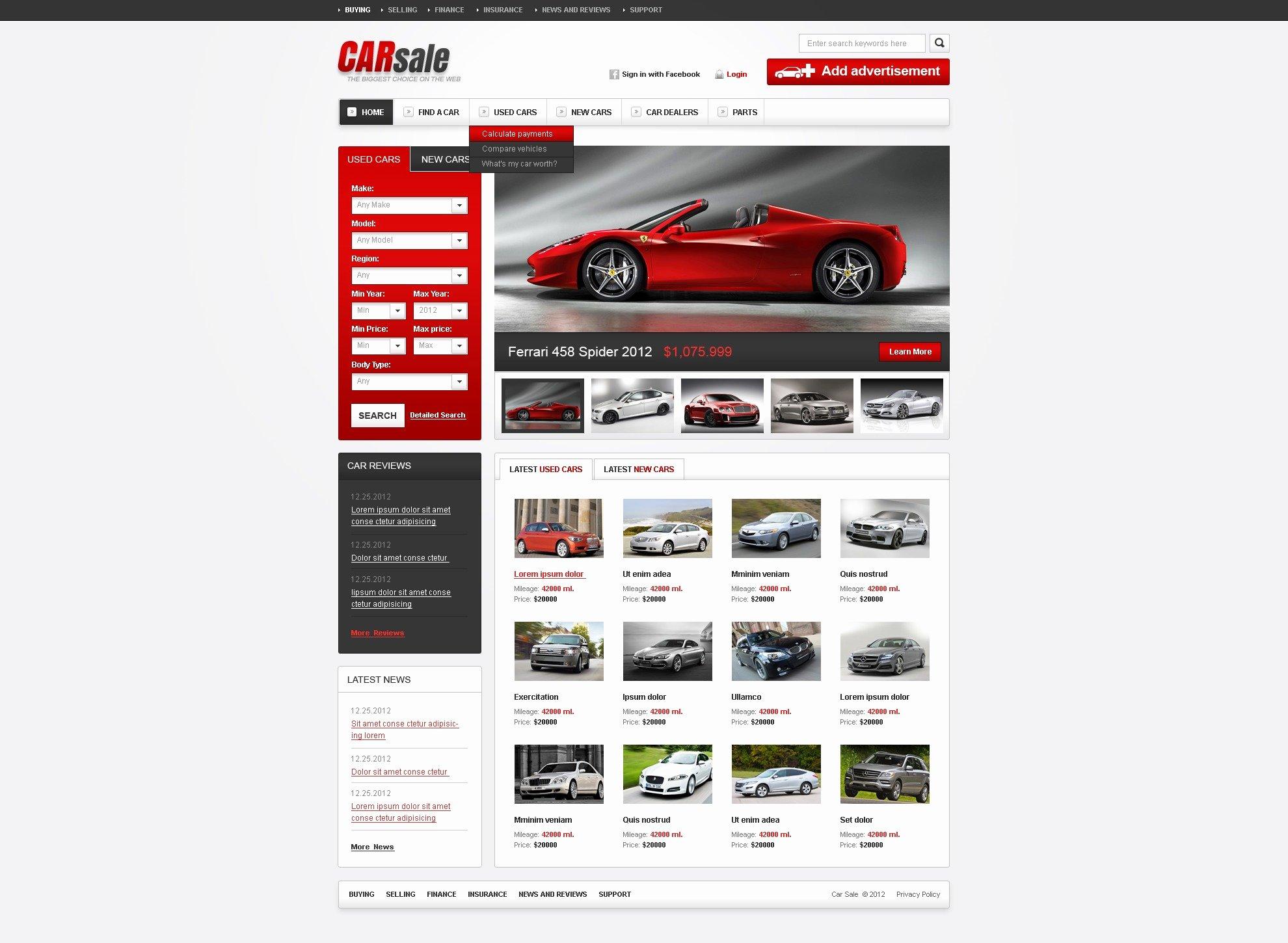 Auto Dealer Website Template Luxury New & Used Cars Website Template