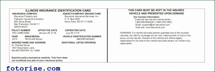 Auto Insurance Card Template Pdf Awesome Free Fake Auto Insurance Card Template