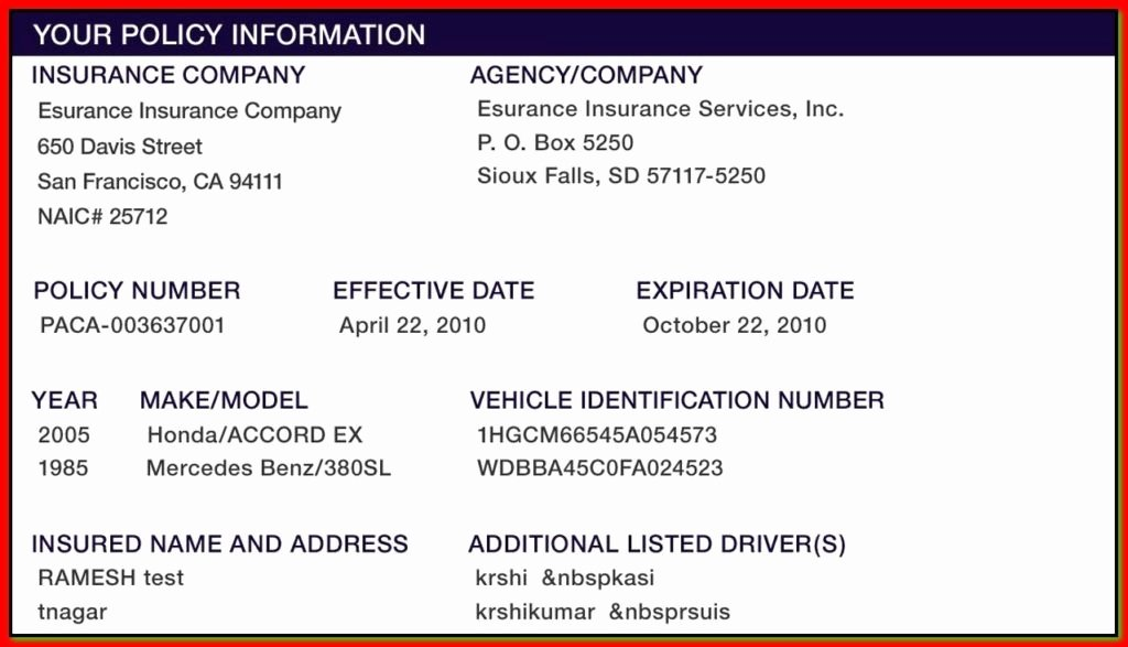 Auto Insurance Card Template Pdf Luxury Proof Auto Insurance Template Free