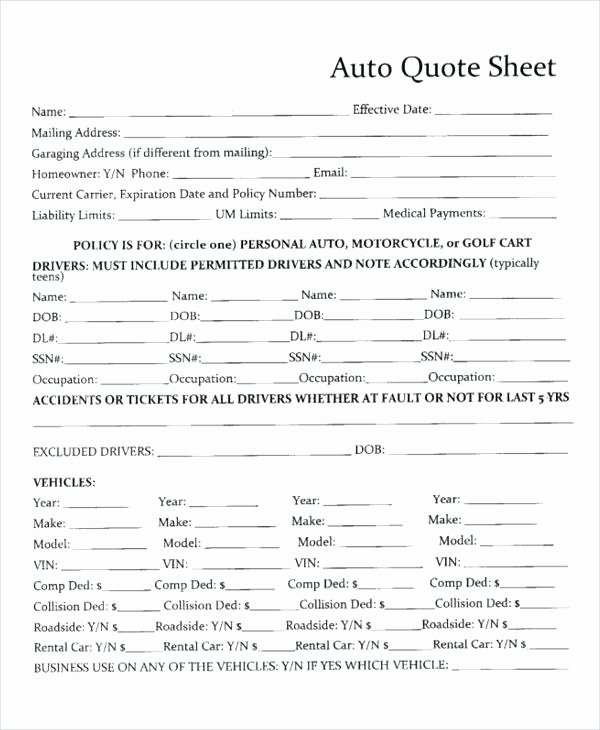 Auto Insurance Quote Sheet Template Best Of Auto Insurance Quote Sheet Template Medium Size Home